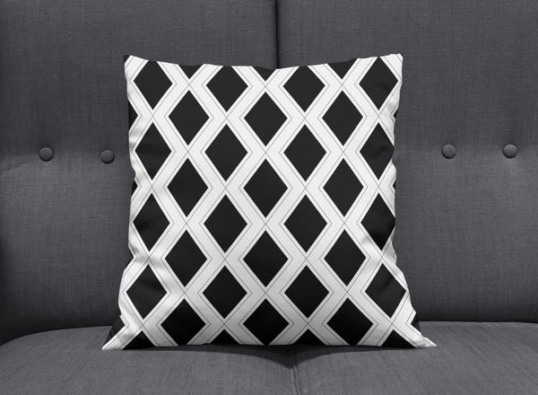 Art Deco Black & White Graphic Cushion