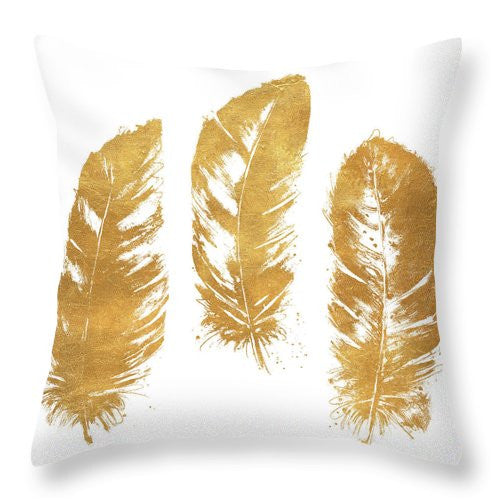 Gold Feather Square Throw Pillow by aaart - art inspired decorative throw pillows