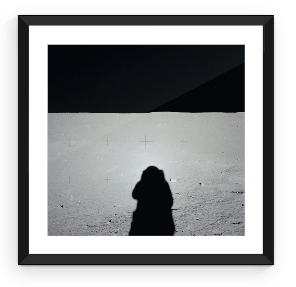 Apollo Astronaut's Shadow on the Moon - Framed Print