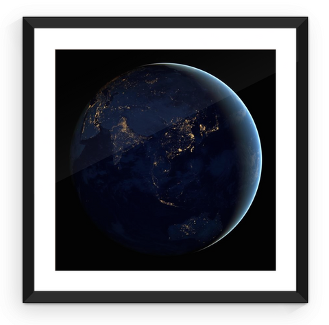 Asia at Night - Framed Print