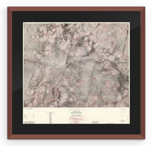 Apollo 17 Moon Topography - Framed Map