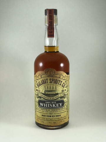 Malahat whiskey Rye handcrafted in San Diego