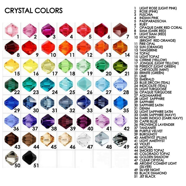 4mm bicone crystal color chart