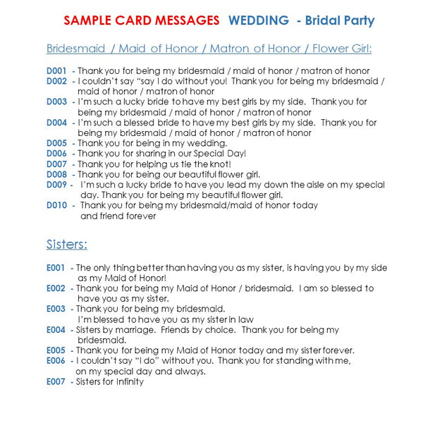 bridal party sample messages