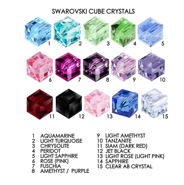 8mm swarovski elements cube color chart