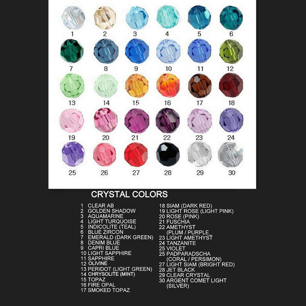 8mm faceted round swarovski elements crystal color chart