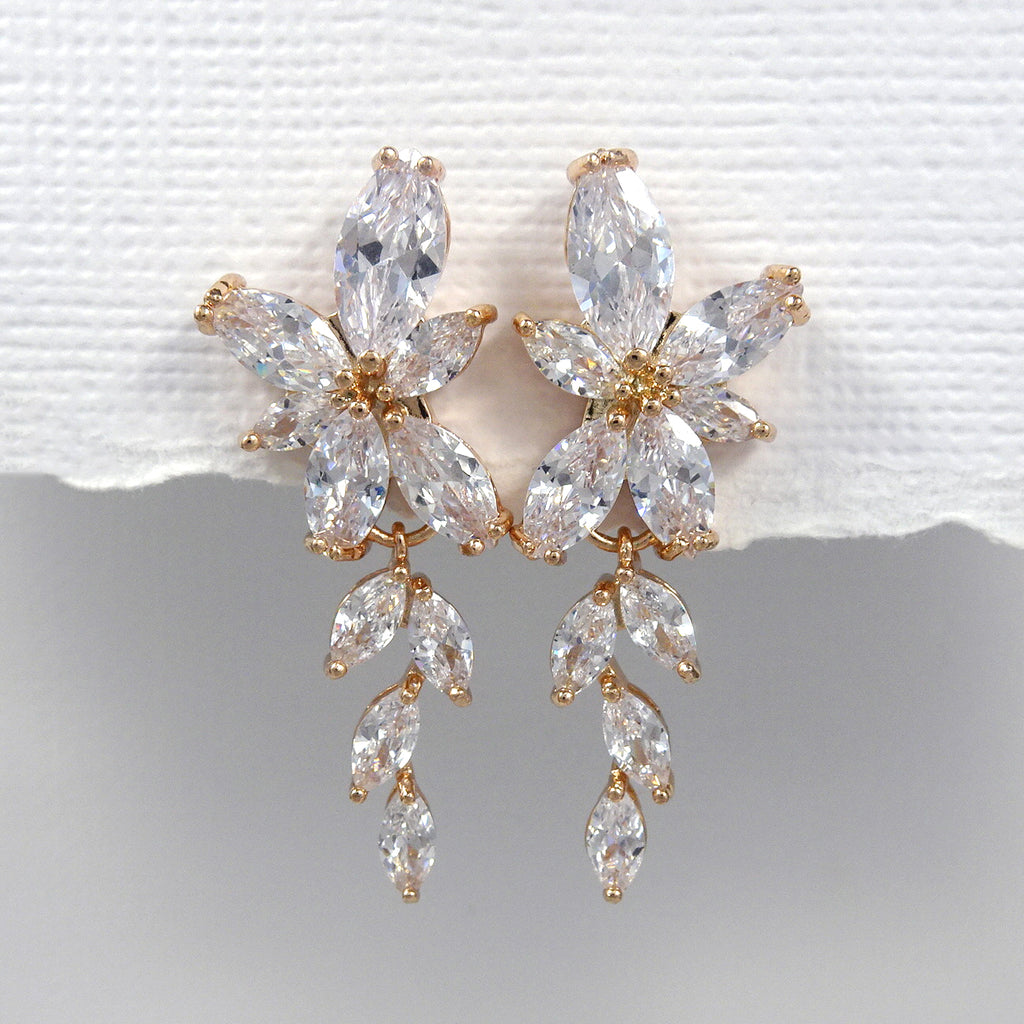 clear cubic zirconia crystal earrings in rose gold setting