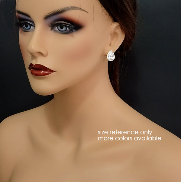 pear crystal stud earrings on a model mannequin