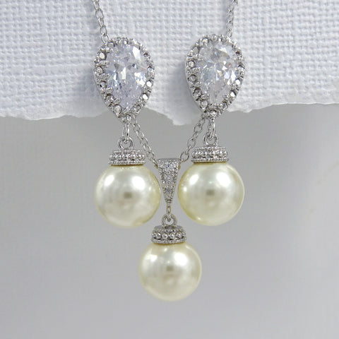 ivory pearl cubic zirconia necklace and earrings set