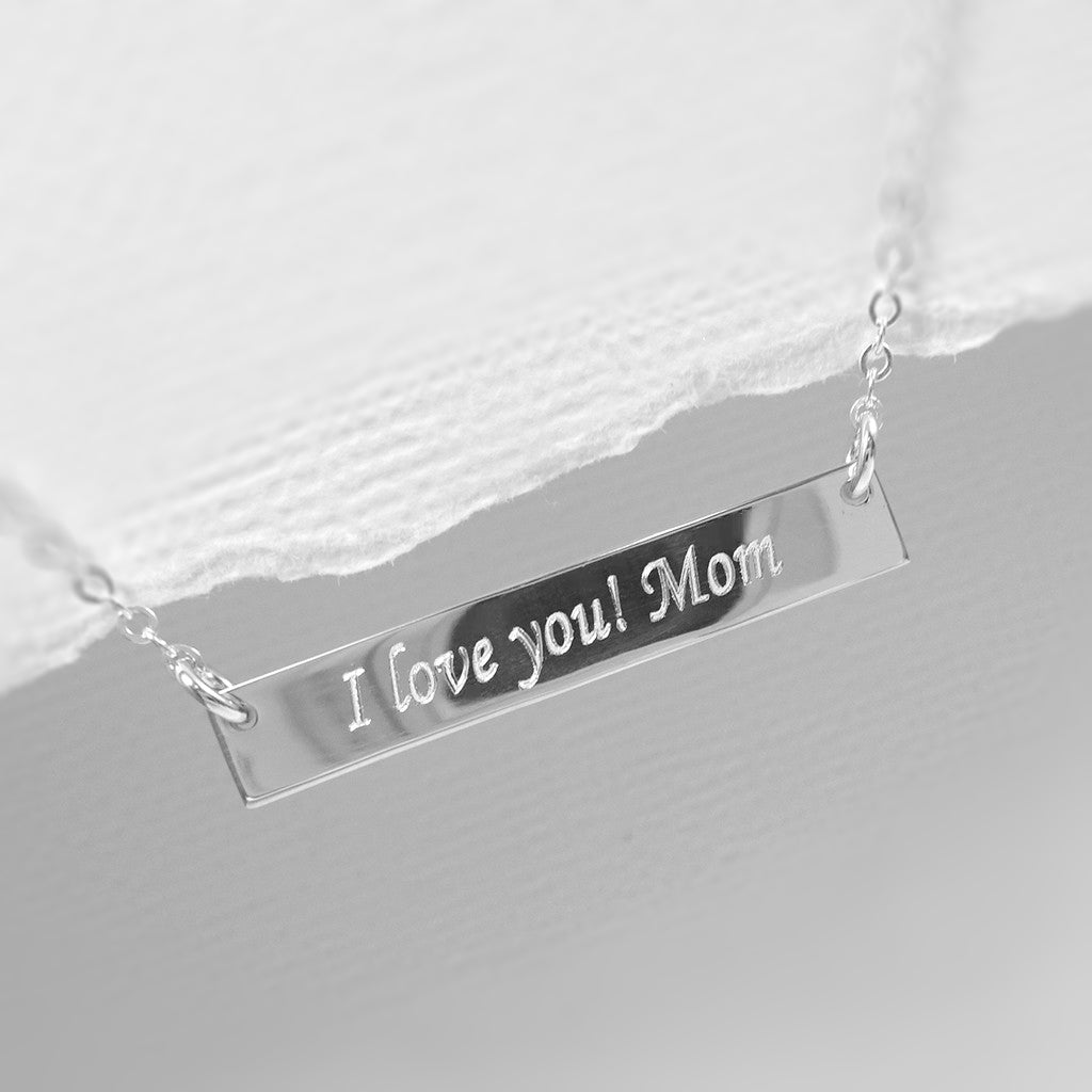 bar necklace engraved with I Love You Mom