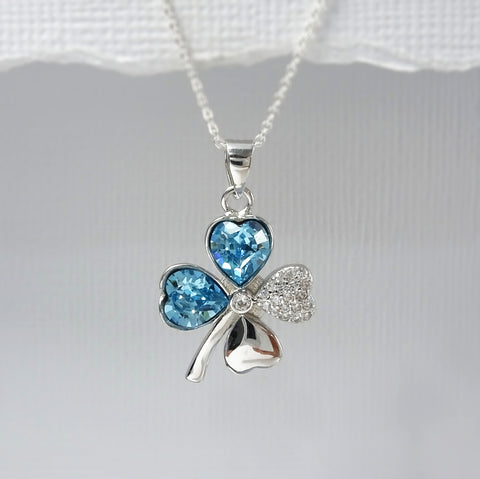 cubic zirconia four leaf clover necklace