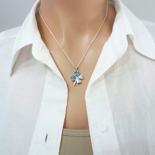 cubic zirconia four leaf clover necklace on a model mannequin