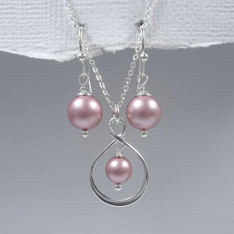 infinity and powder rose pearl necklace and earrings set
