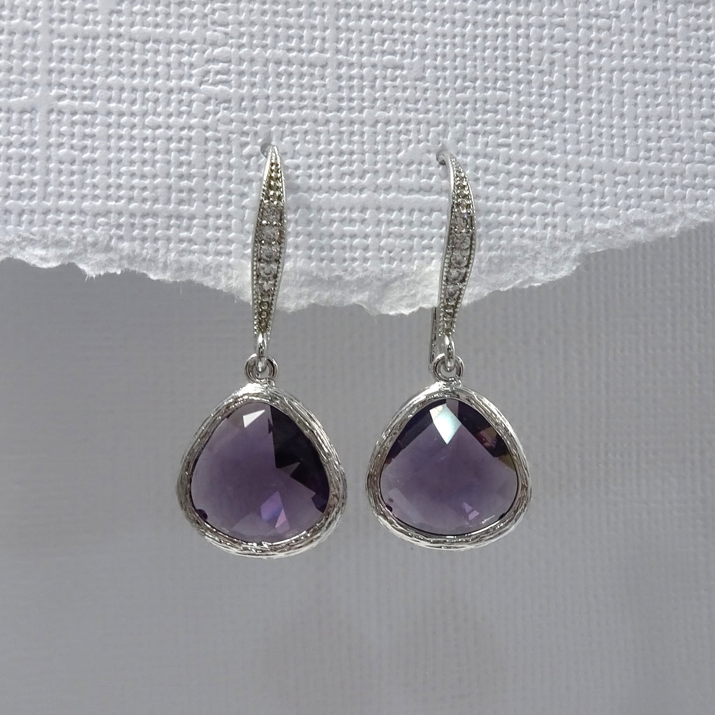 amethyst purple framed glass earrings