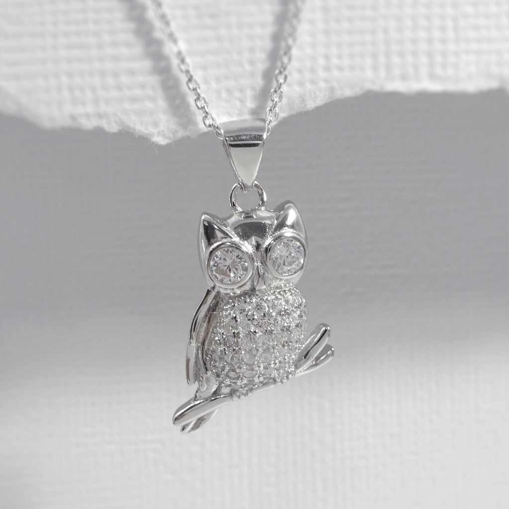owl on a branch necklace