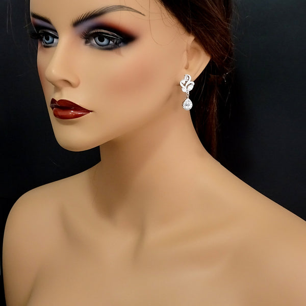 clear cubic zirconia crystal drop earrings on a mannequin model