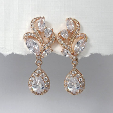rose gold cubic zirconia crystal drop earrings