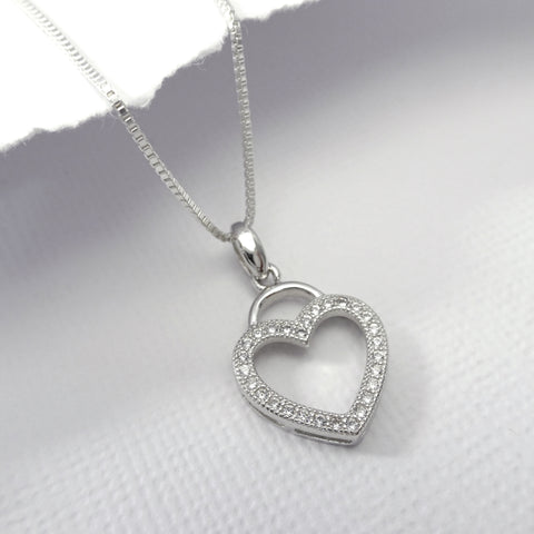 open heart necklace with cz stones