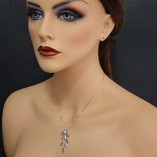 sterling silver amethyst branch necklace on a model mannequin