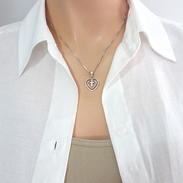Sterling Silver Heart and Cross Necklace
