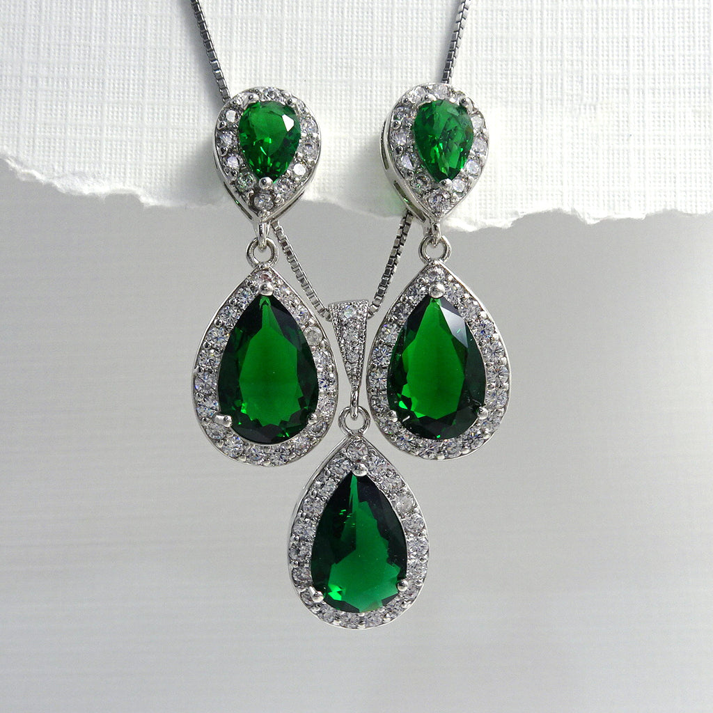 dark green cubic zirconia crystal drop necklace and earrings set