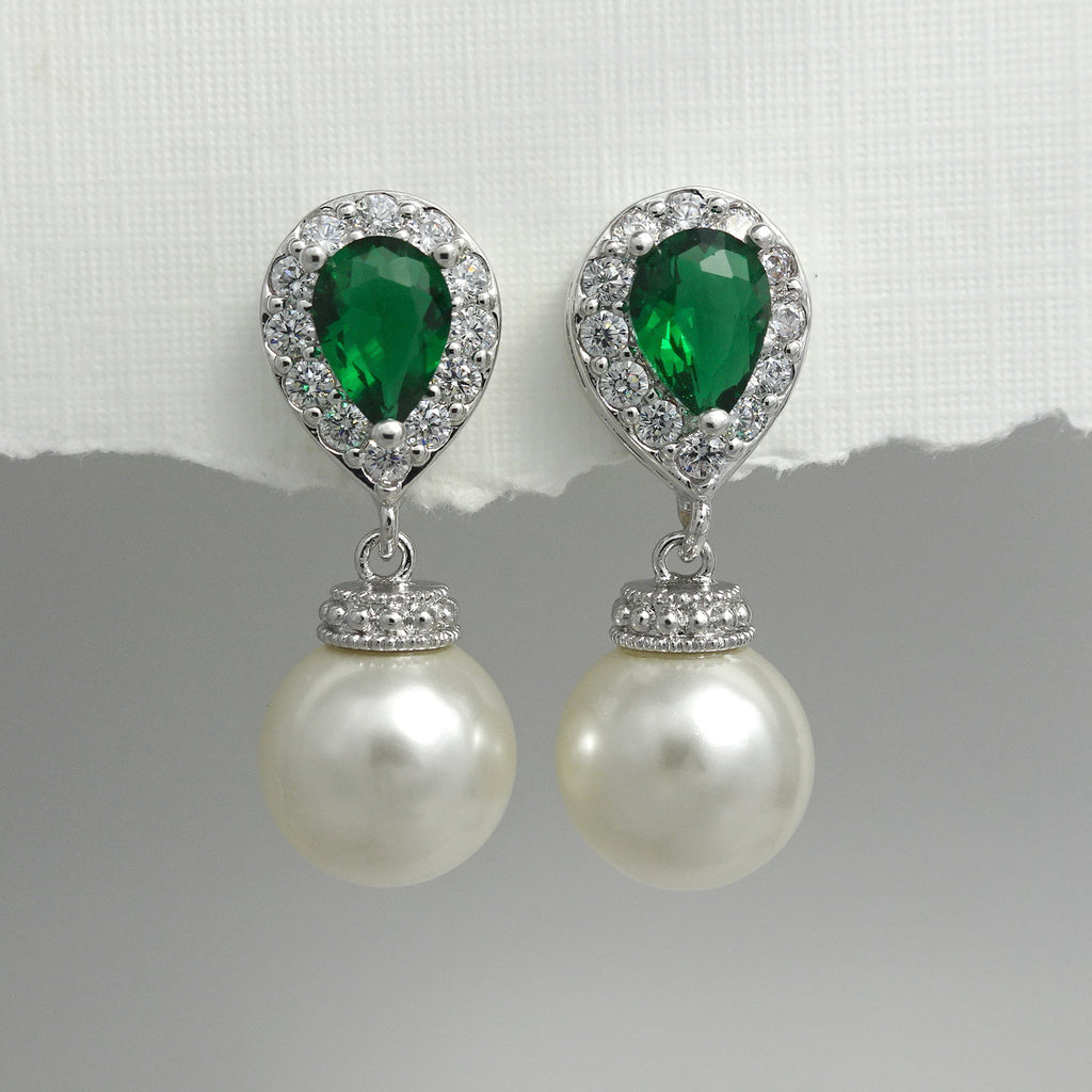 ivory pearl and green cubic zirconia crystal earrings