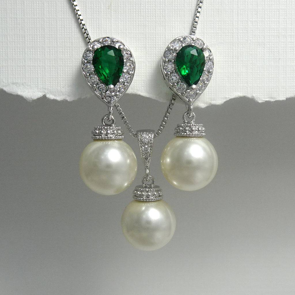 ivory pearl and green cubic zirconia crystal necklace and earrings set