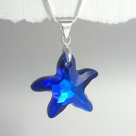 bermuda blue crystal starfish necklace