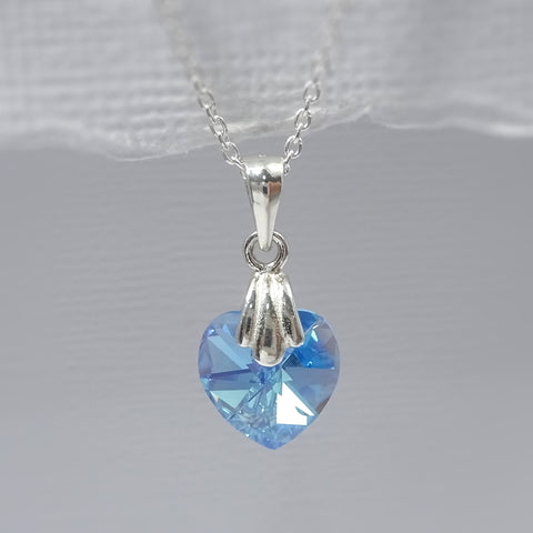 aquamarine crystal heart necklace
