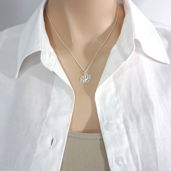lotus flower necklace on a model mannequin
