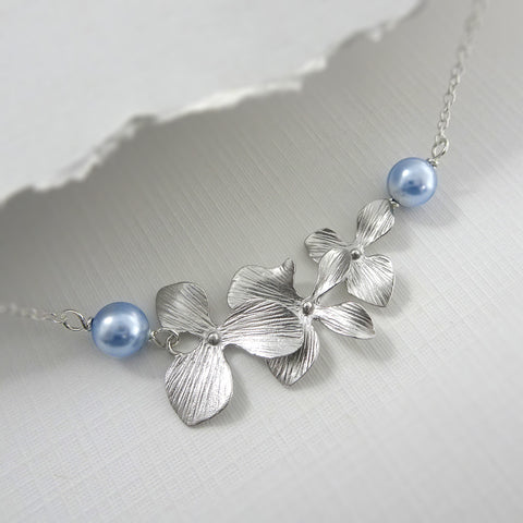 orchid and light blue pearl necklace