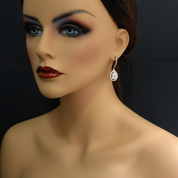 drop crystal dangle earrings on a model mannequin