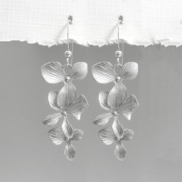 cascade orchid earrings with fishhook ear wires