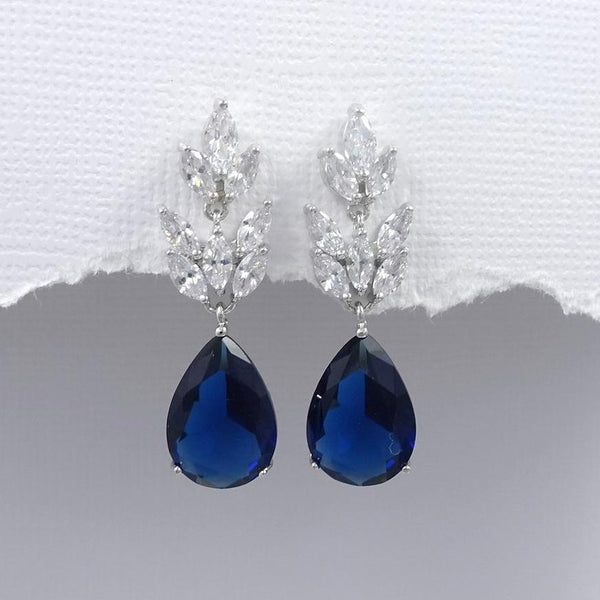 dark blue cubic zirconia crystal drop earrings in silver plated setting