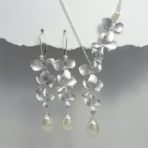 orchid and ivory pearl necklace and earrings set