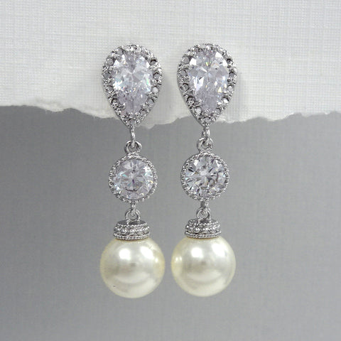 ivory pearl dangle earrings