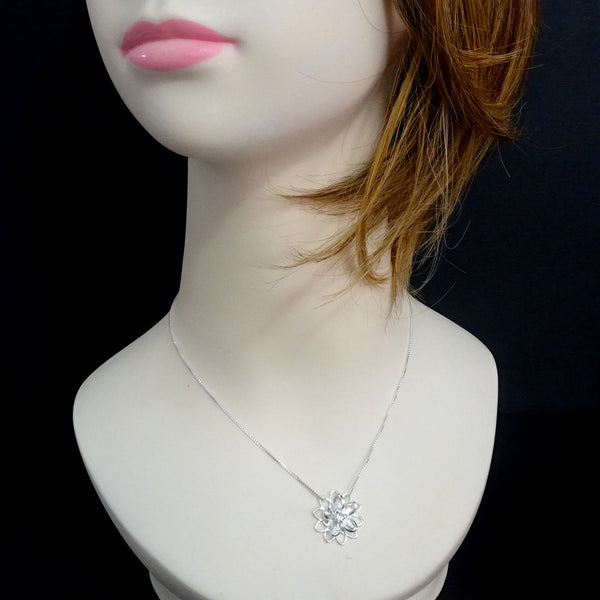 crystal flower necklace on a child mannequin