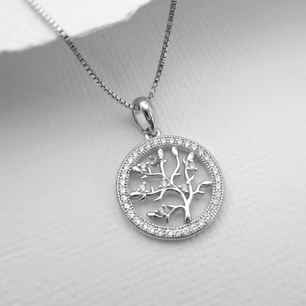 tree of life cubic zirconia necklace