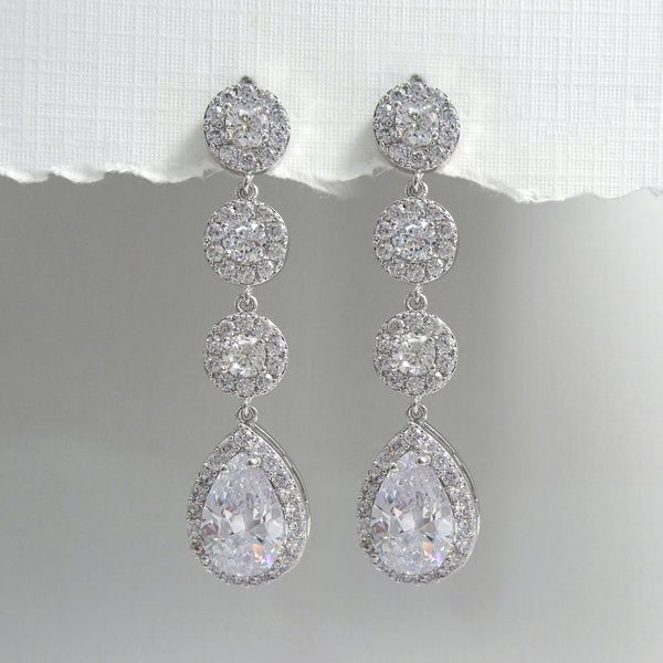 cubic zirconia pear crystal long dangle earrings in silver