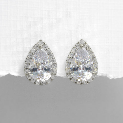 Pear Crystal Stud Earrings in Silver Setting
