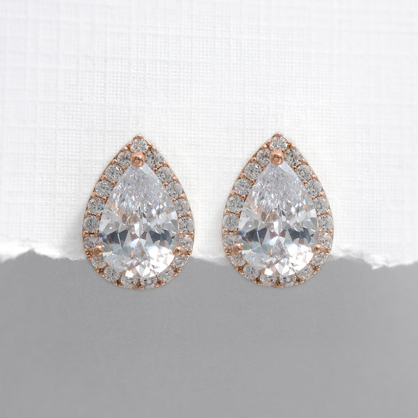 rose gold pearl crystal stud earrings