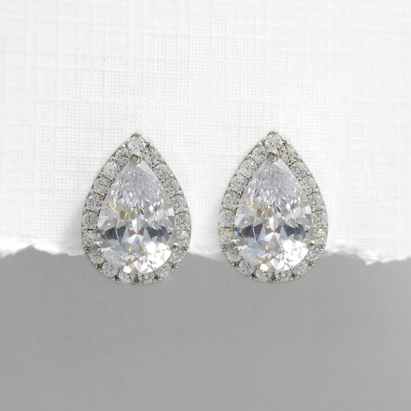 silver pear crystal stud earrings