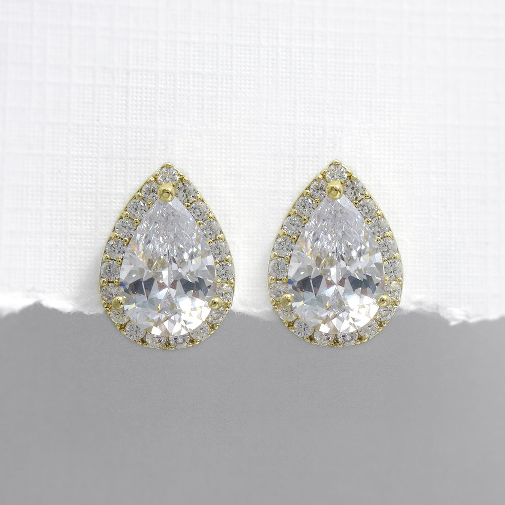 gold pear crystal stud earrings