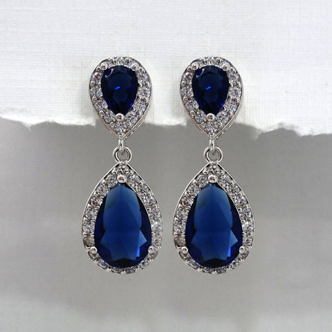 Dark Blue Cubic Zirconia Crystal Earrings