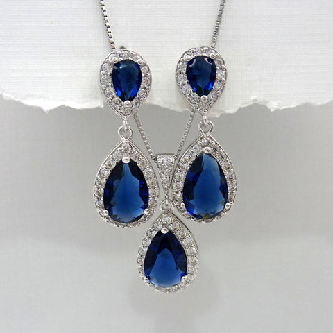 dark blue cubic zirconia crystal drop necklace and earrings set