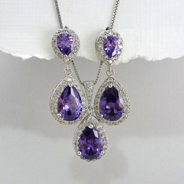 purple cubic zirconia crystal drop necklace and earrings set