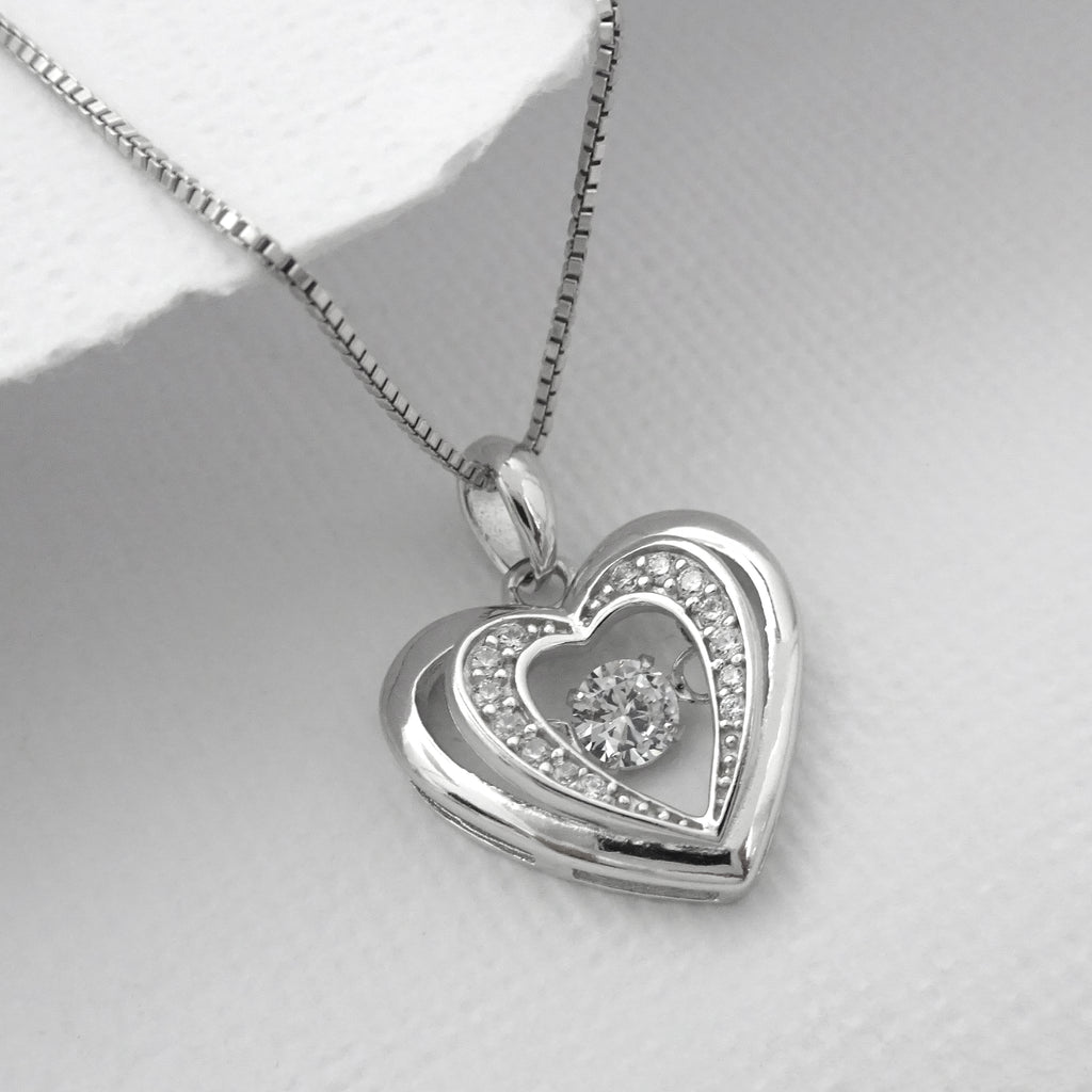 heart with cz stone necklace