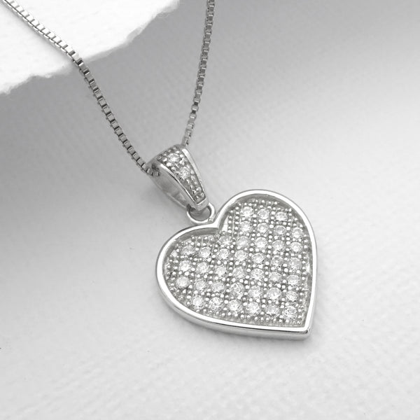 cubic zirconia sterling silver heart necklace