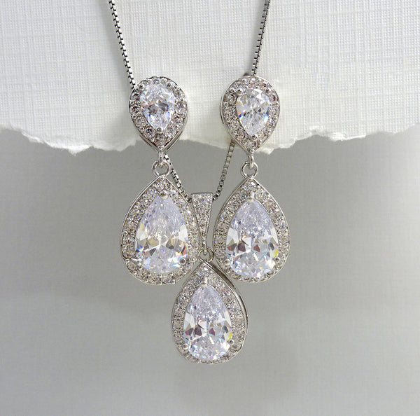 clear cubic zirconia crystal drop necklace and earrings set