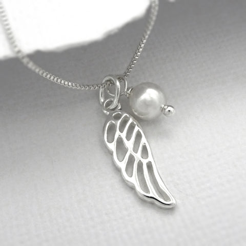wing necklace with white pearl